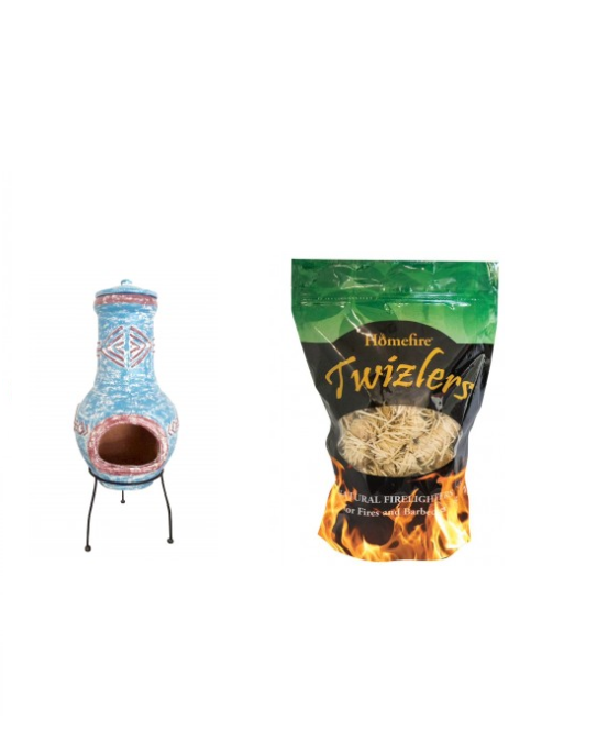 Provide the perfect companion for your garden table and chairs with this Garden Large Aztec Clay Chimenea with Twizler Firelighters. Each bundle inclu