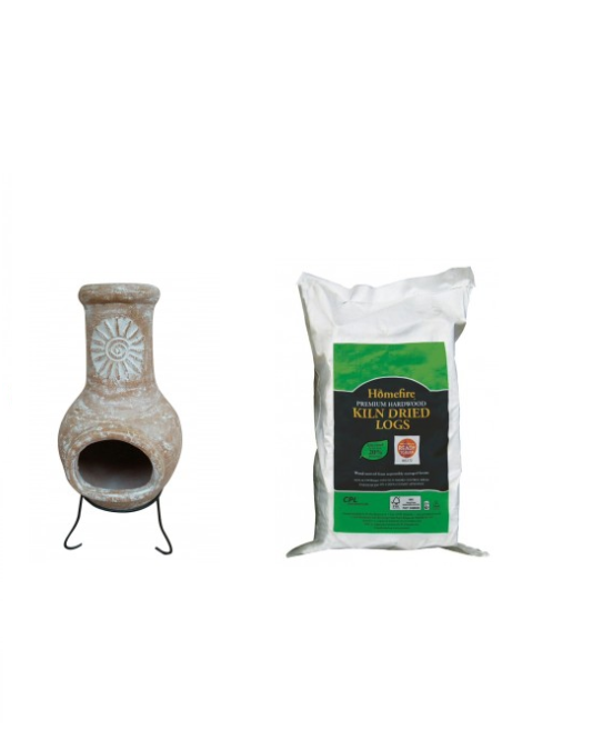 Autumn and winter evenings will always be warm thanks to this Outdoor Medium Natural Clay Chimenea with Dried Logs. Each bundle includes:1 x Outdoor M