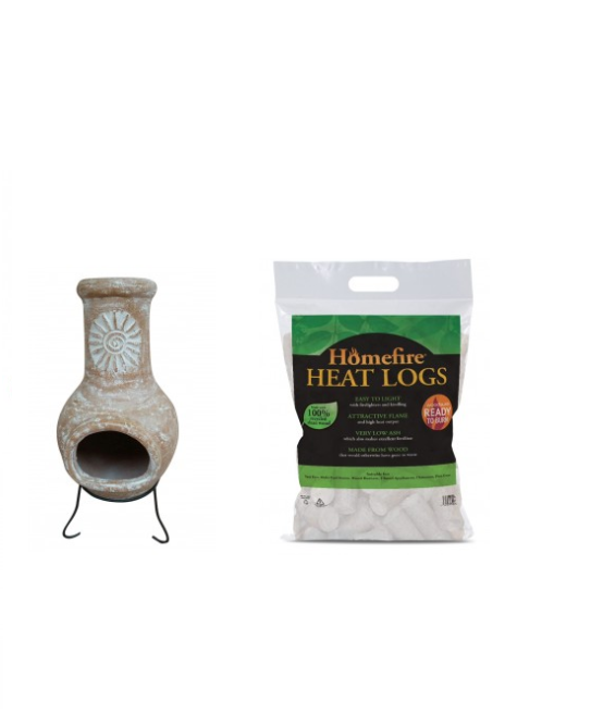 If you're stuck for patio ideas, this Outdoor Medium Natural Clay Chimenea with Heat Logs will be a top addition and will make up for any lack of sun