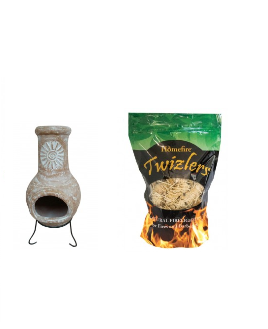 Fight off the cold and feel the heat in a good way with this Outdoor Medium Natural Clay Chiminea with Twizler Firelighters. Each bundle includes:1 x
