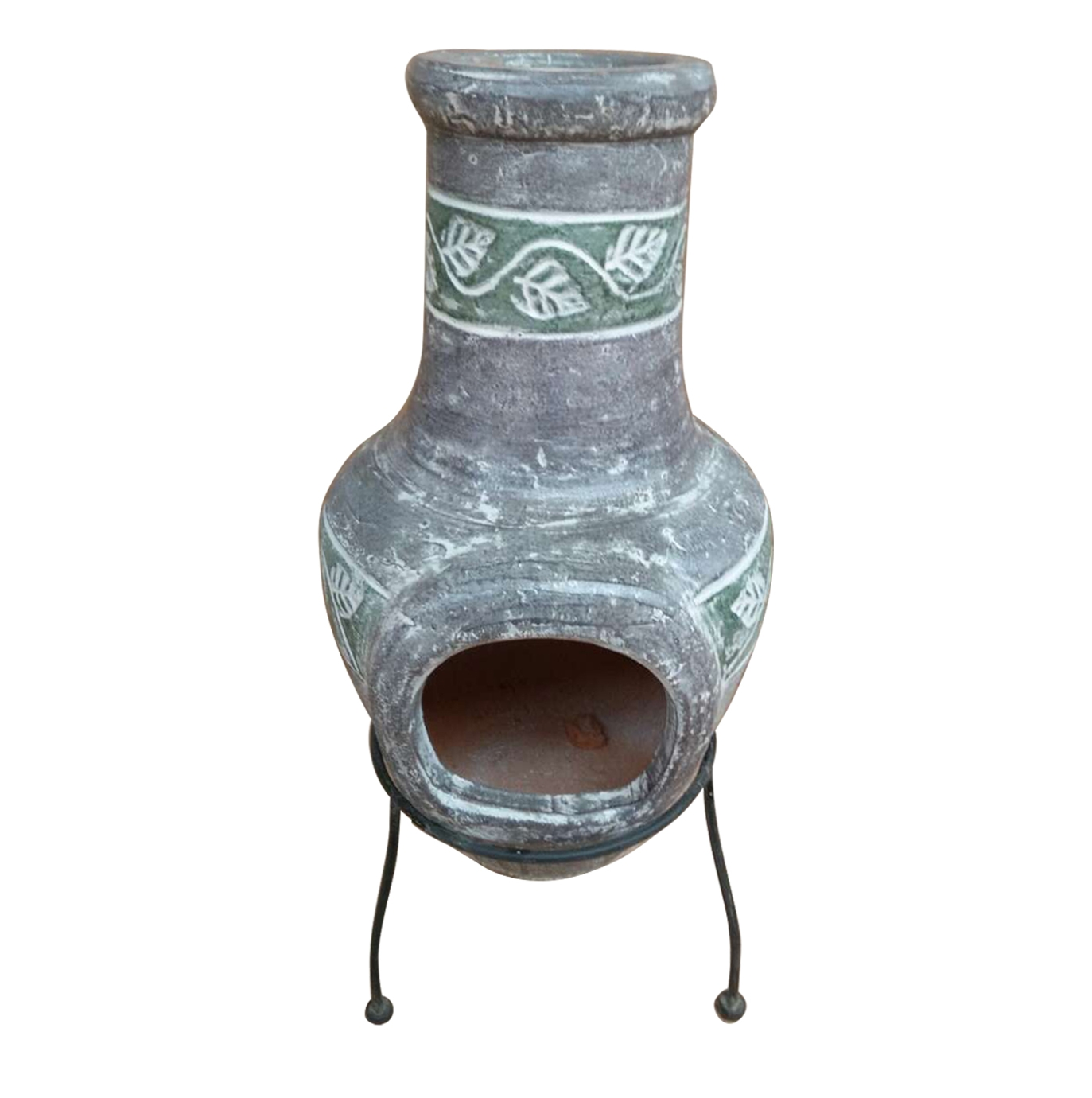 The �Outdoor Small Grey Clay Chimenea Mexican Patio Heater �by Charles Bentley is a wood burning garden heater, ideal for those cool evenings spent in
