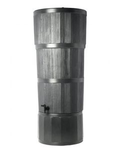 150L Woodgrain Effect Polybutt Water Butt - Black