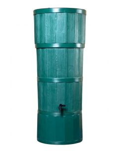 150L Woodgrain Effect Polybutt Water Butt - Green
