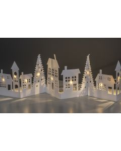 10 Warm White LED Folding Winter Scene - House & Trees