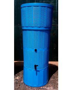 150L Rattan Wicker Effect Polybutt Water Butt - Blue