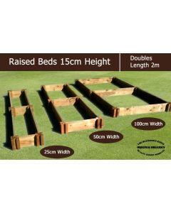 15cm High Double Raised Beds - Blackdown Range - 50cm Wide