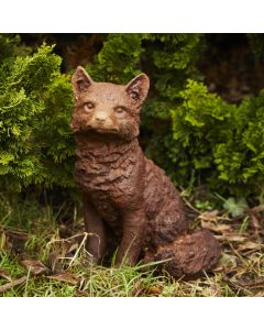 Cast Iron Sitting Fox Statue - Rust