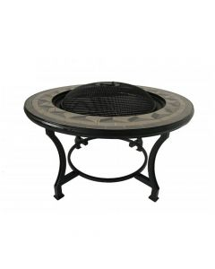 Tile Mosaic Grey Fire Bowl Table & BBQ