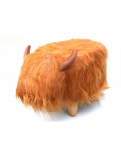 Dillis the Highland Cow Synthetic Fur Footstool