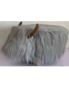 Georgette The Highland Cow Grey Synthetic Fur Footstool