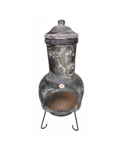 Extra-Large Iguana Mexican Chiminea in Dark Grey