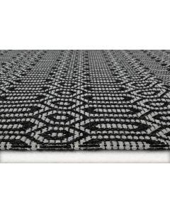 Recycled Cotton Geo Hexagon Grey Rug -  60 x 180cm