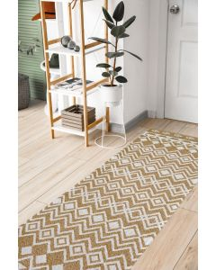 Recycled Cotton Ethnic Mustard Rug -  60 x 180cm