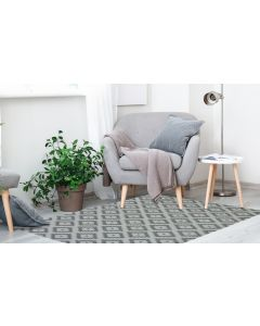 Recycled Cotton Geo Grey Rug -  100 x 150cm