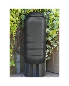 250L Black Slimline Water Butt With Tap & Lid