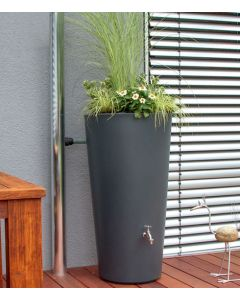 150L RainBowl Flower Water Butts with Planter in Slate Grey
