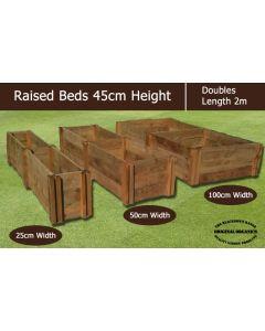 45cm High Double Raised Beds - Blackdown Range - 100cm Wide