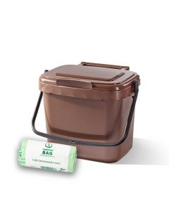 5ltr Brown Kitchen Caddy + 26 Pack of Liners