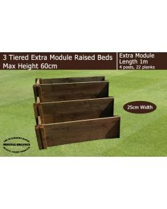60cm High 3 Tiered Raised Beds Extra Module - Blackdown Range - 100cm Wide
