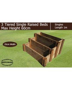 60cm High 3 Tiered Single Raised Beds - Blackdown Range - 25cm Wide