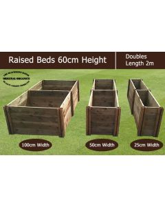 60cm High Double Raised Beds - Blackdown Range - 100cm Wide