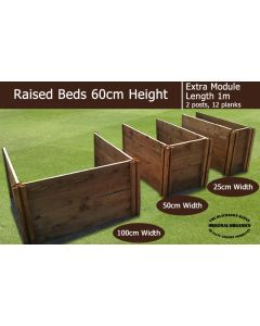60cm High Extra Module for Raised Beds - Blackdown Range - 25cm Wide