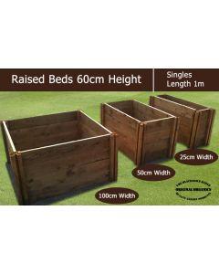 60cm High Single Raised Beds - Blackdown Range - 25cm Wide