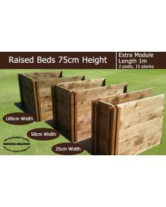 75cm High Extra Module for Raised Beds - Blackdown Range - 25cm Wide