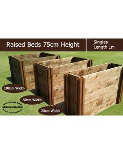 75cm High Single Raised Beds - Blackdown Range - 25cm Wide