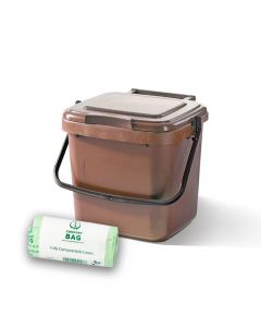 7ltr Brown Kitchen Caddy + 26 Pack of Liners