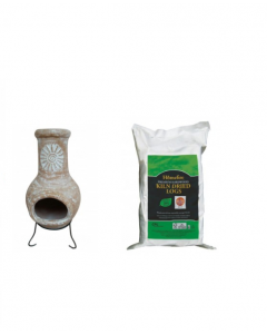 Outdoor Medium Natural Clay Chiminea with Dried Logs
