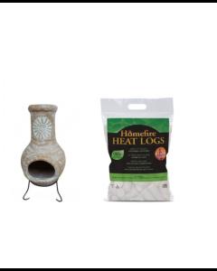 Outdoor Medium Natural Clay Chimenea with Heat Logs