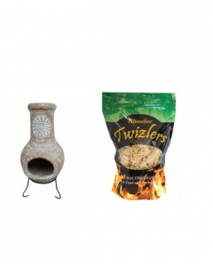 Outdoor Medium Natural Clay Chiminea with Twizler Firelighters
