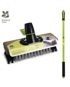 "National Trust  9"" Wire Broom With PVC Patio Brush With Handle FSC Wood"