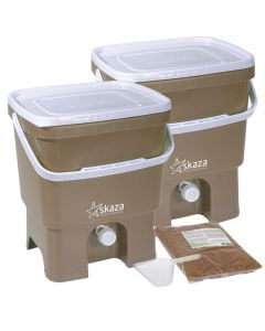 Bokashi Organko Compost Bin Set (2 x 16L) Cappuccino and White with 2kg Bokashi Bran