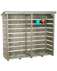 Large Wooden Garden Double Log Store for Heavy Duty Firewood Storage