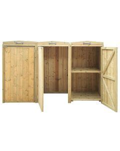Premium Nordic Spruce Triple Bin Store Wheelie Bin Storage Unit