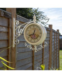 Cream Vintage 37cm Double Sided Metal Bracket Wall Clock
