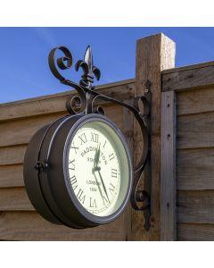 Black Paddington Double Sided Faced Metal Wall Clock