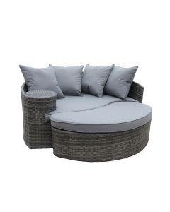 Rattan Curved Day Bed / Sofa & Footstool - Grey Rattan & Grey Cushion