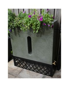 280L Slimline Water Butt Planter - Green Marble