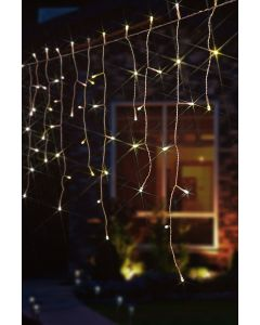 144 Warm White LED Snowing Icicle Lights With Speed Setting & White Cable