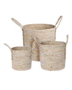 Corn Leaf Round Basket - Set of 3