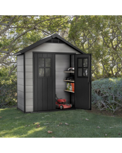 Keter Oakland Outdoor Plastic Garden Storage Shed, 7.5 x 4 feet - Grey