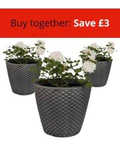 Three Geometric 35cm Pewter Planters Bundle