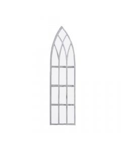 Narrow Antique Metal Intersecting Tracery Gothic Garden Mirror