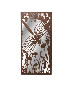 Portrait Rusted Metal Dragonfly Silhouette Mirror