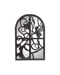 Black Metal Fairy in Window Garden Mirror