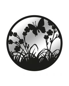 Black Metal Round Flying Butterfly Silhouette Mirror