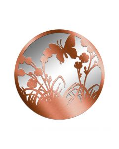 Bronze Metal Round Flying Butterfly Silhouette Mirror